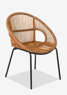 Round Rattan Dining Chair with metal base - K/D(29.5X26X31)