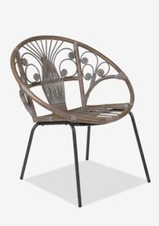 (SP) Sierra Blanca Washed Rattan Chair With Black Metal Legs - K/D..(29.5X26X31)..