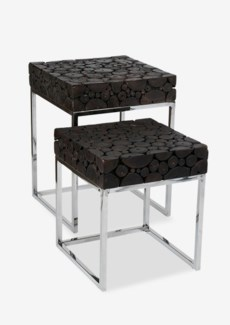 (LS) Serengeti round wood block set-of 2 side tables with stainless steel base -Black Patina..(18X18