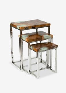Uptown Icy wood nesting table with metal base set-3 (14X9X17/17X11X21/20X12X27)