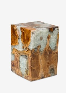 Uptown Icy wood clear glass-Tall(13x13x18)