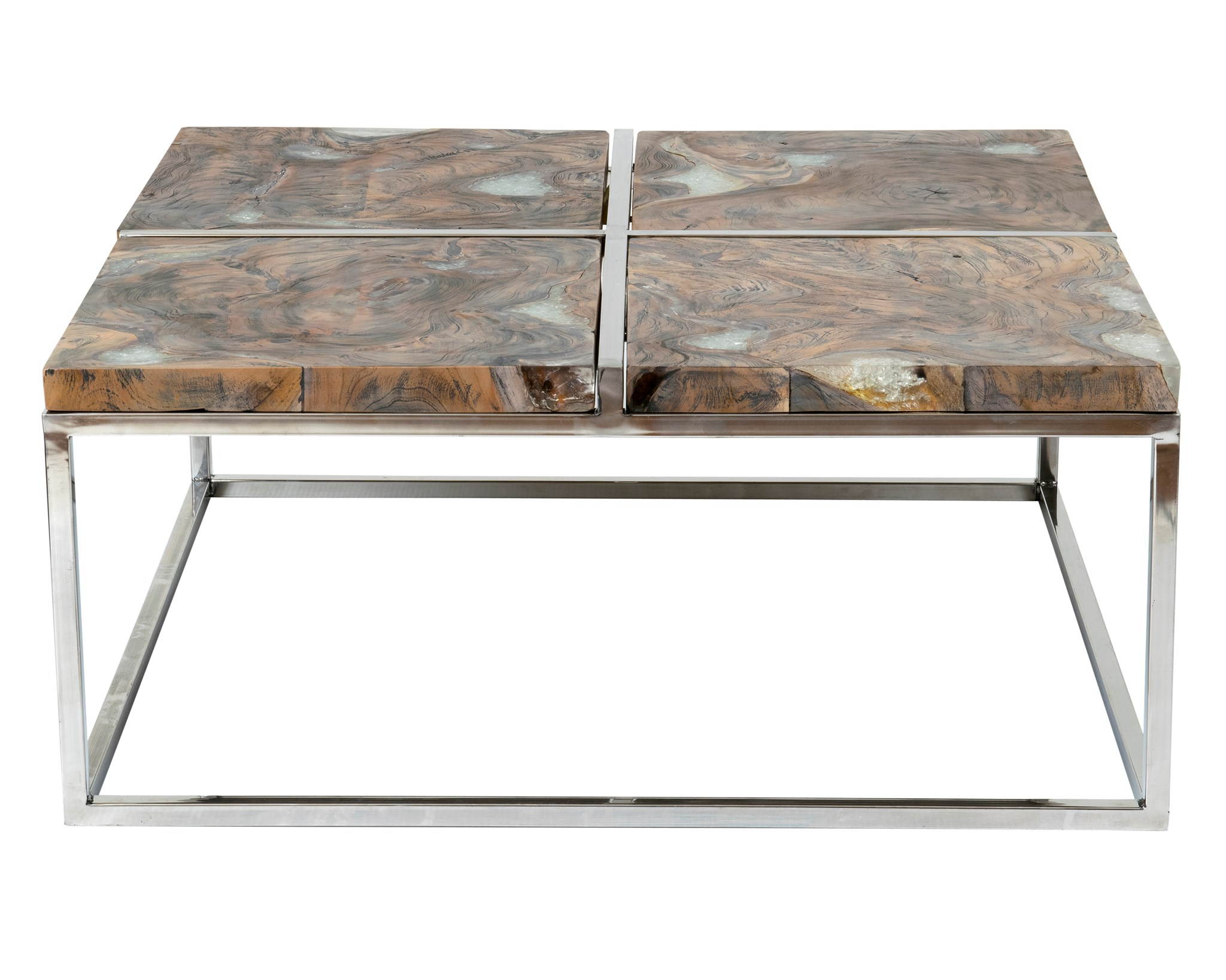 Uptown Icy Wood Coffee Table With Stainless Steel Base   Grey  Patina(36x36X16)