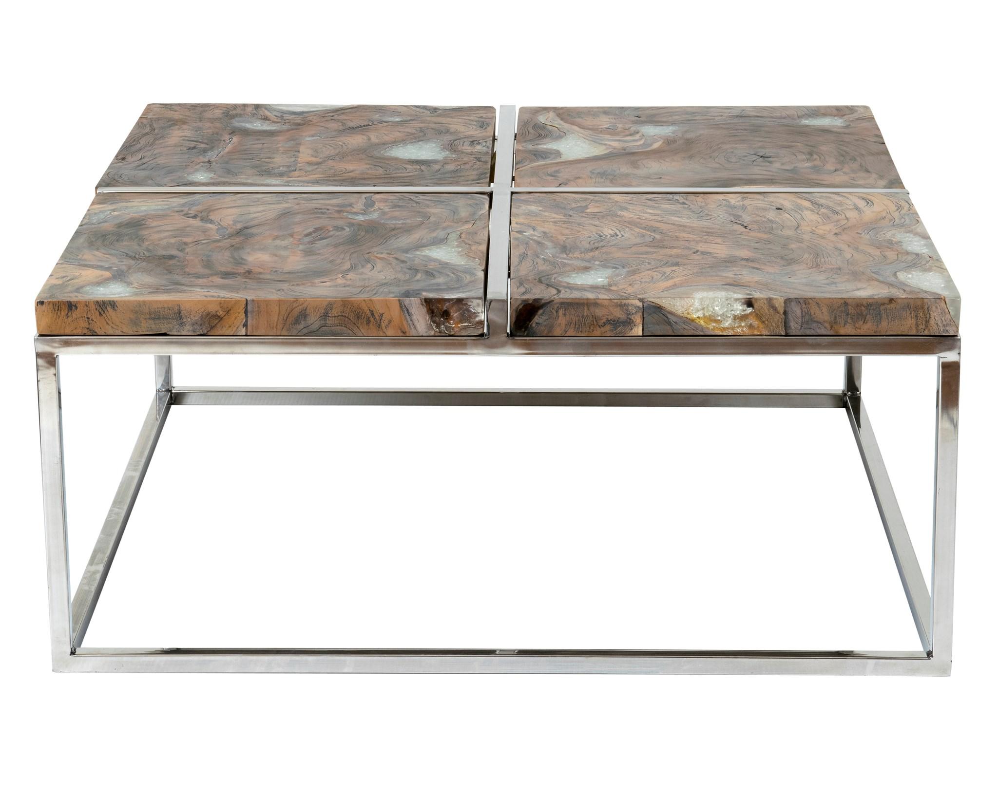 Petrified Wood Table Top Black Patina Steel Legs Live Edge Wood