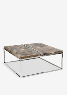 Uptown icy wood coffee table with stainless steel base - grey patina(36x36X16)