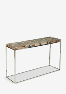 "47"" Uptown Icy Console With Reclaimed Teakwood And Recycled Glass On Stainless Steel Cube Base (47x1"