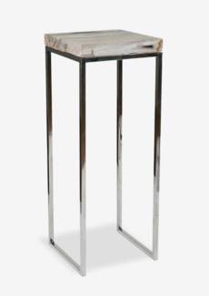 Uptown Organic Petrified Wood Table L with Stainless Steel Base-Large(14X14X38)