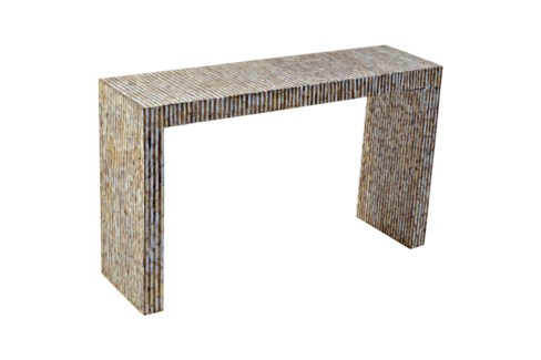 Uptown Console Table with Capiz in Gold/White (Stick)