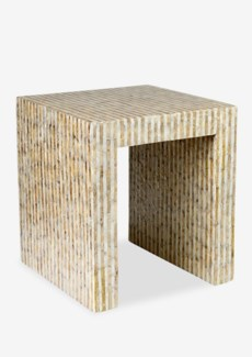 (LS) Uptown Side Table with Capiz in Gold/White (Stick)..