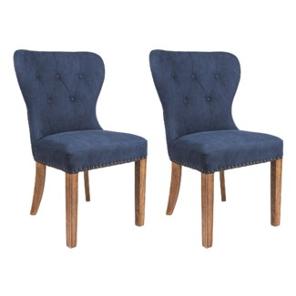 Paulie Upholstered Dining Chair-Blue w/ Wood Legs (23X23X36)