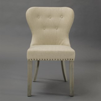 Paulie Upholstered Dining Chair-Tan w/ Wood Legs (23X23X36)