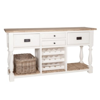 Chauncey Vintage Kitchen Sideboard with Wine Rack Drawer With Two Tone Color(69X18X35.5)