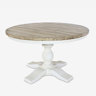 Chauncey Round Pedestal  Dining Table with  Reclaimed Fir Top (51x12x30)