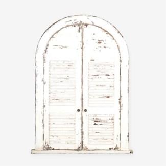 Chauncey Rustic Vintage Mirror-White(53X39.25X4)