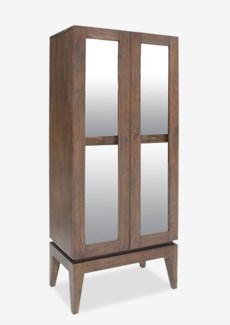 "(SP) Berlin 75"" H solid teakwood cabinet with glass door..(72X35X31)...."