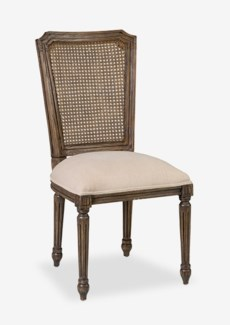 Brittany dining side chair with solid wood frame and woven back Solid mindi wood/ rattan weaveWood