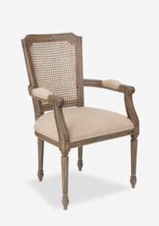 Brittany dining arm chair with solid wood frame and woven back Solid mindi wood/ rattan weaveWood: