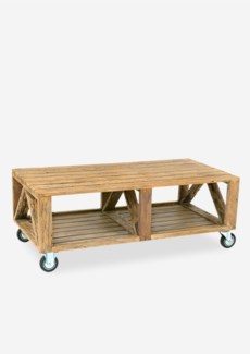 (LS) Industrial Coffee Table with Wheels..