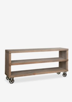 Cologne Soft industrial media media console table with metal castorsSolid pine wood/ metal castors