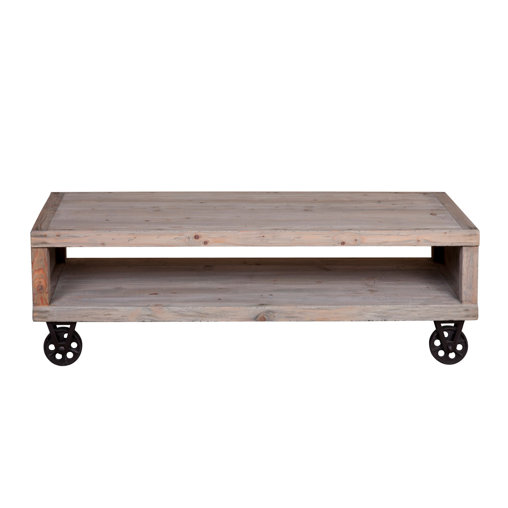 Cologne Soft Industrial Coffee Table With Metal Castors (K/D)Solid Pine Wood