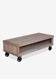 Cologne Soft industrial coffee table with metal castors (K/D)Solid pine wood/ metal castors(53X23.