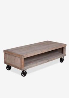 (SP) Cologne Soft industrial coffee table with metal castors (K/D)..Solid pine wood/ metal castors..