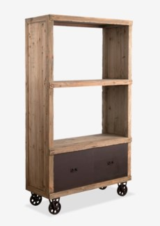 (SP) Cologne Soft industrial bookcase with metal castors and 2 metal drawers (K/D)..Solid pine wood/