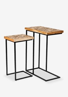 C-Tables w/ Coconut Shell Top Set of 2-Natural Bliss-Black Color.. 20,5x10x25,5/20x10x21,5