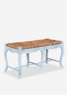 Double Woven Top Bench with Cabriole Legs - Light Grey w/ Soft Distressed    (39.4x18x20)