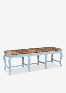 (LS) Triple Woven Top Bench with Cabriole Legs - Light Grey w/ Soft Distressed    (61x18x20)