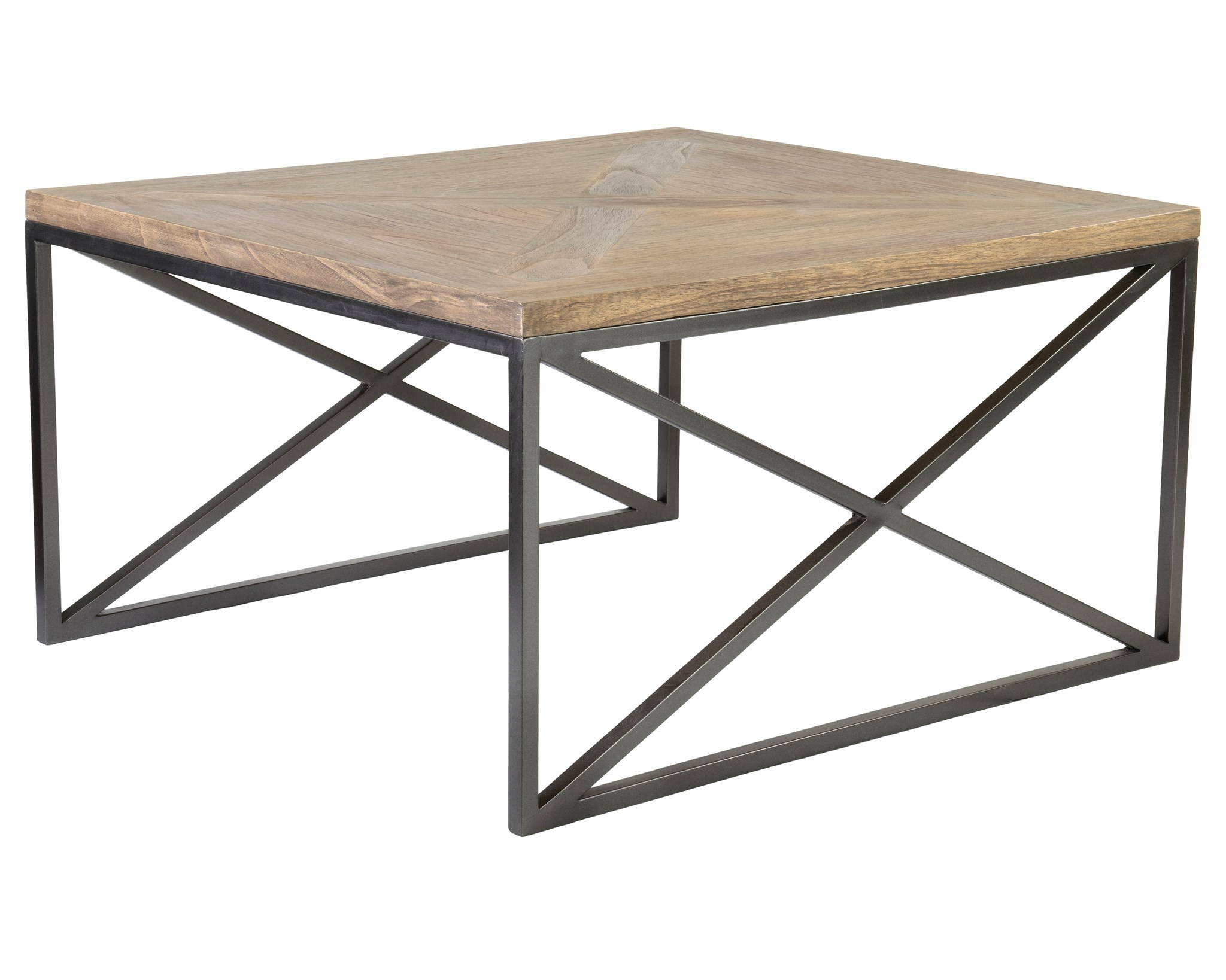 Ellington Coffee Table Set 2 With Wrought Iron Base And Wood Top (35X31.