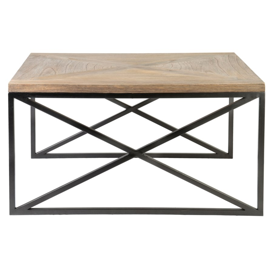 Ellington Coffee Table Set 2 With Wrought Iron Base And Wood Top 35x31