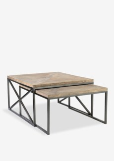 Ellington Coffee Table Set-2 With Wrought Iron Base and Wood Top (35X31.5X19 / 34X29X17)