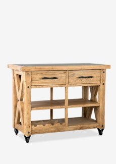 "Farmhouse 44"" Kitchen Island with Zinc toppine woodfinish: rustic natural(44X22X36)"