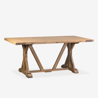 """Farmhouse 71"""" solid pine wood dining tablepine woodfinish: rustic natural(71X38X30.3)"""
