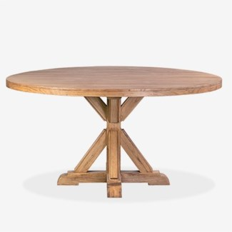 """Farmhouse 60"""" round solid pine wood dining tablepine woodfinish: rustic natural(60X60X30)"""
