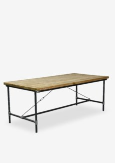 (LS) Kara Reclaimed Teak Dining Table W/Metal Pipe Base (79X39X30)