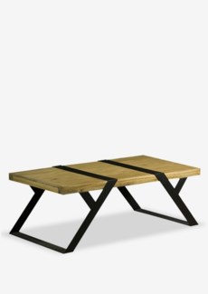 (SP) Malibu Coffee Table with metal accent and base..(48X24X17)..