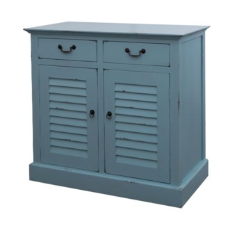 Madeline Entryway Cabinet with 2 Shutter Style Doors 2 Drawers-Blue Distressed (37.4x20x35.4)