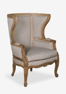 Madeleine upholstered and hand carved wing back chair W/LT Grey Taupe Fabric(32X31X44)