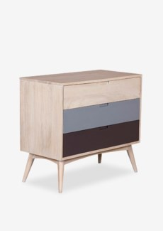(LS) Midtown 3 Drawer Chest with Hand Painted Drawers..(35.4X17.7X31.5)**ships in 2 boxes**......
