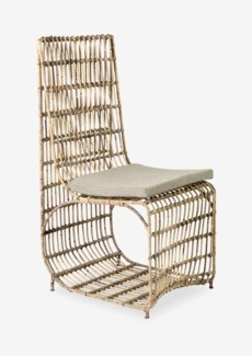 Marvel modern dining chair with iron frame wrapped with natural rattan(18X23X40)