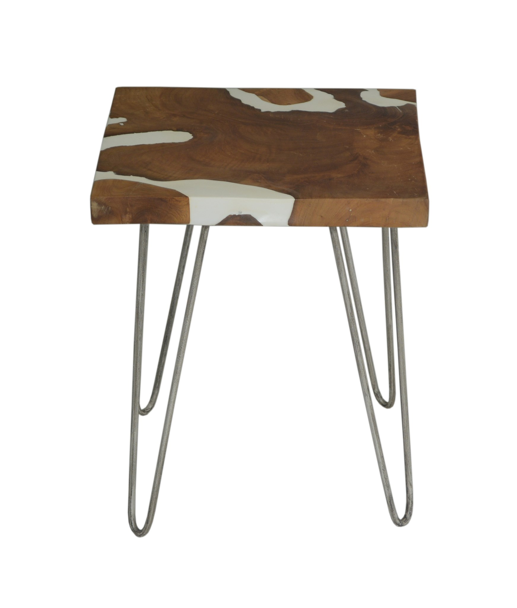 (LS) Natura White Resin Side Table Square W/ Four Legs (16.5x16