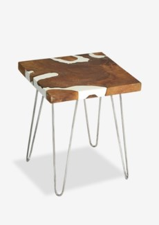 Natura White Resin Side Table Square w/ Four Legs (16.5x16.5x21)
