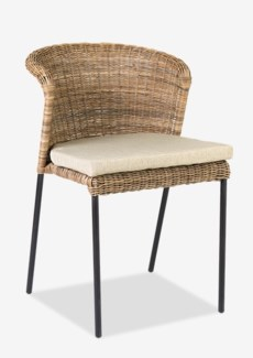 Netta round back chair with iron frame and natural fine rattan