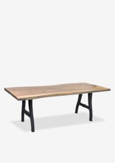 "Ford 87"" acacia solid wood top dining table with forged iron metal base(87X31X30) (2 boxes per sku)"