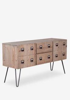 Parsons cabinet with 2 doors and 2 drawers with metal accents - Reclaimed solid pine wood/ metal leg