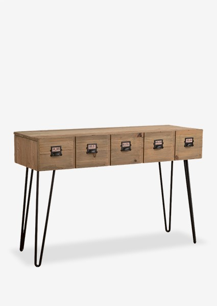 parsons console table with 2 drawer with metal accents kd reclaimed
