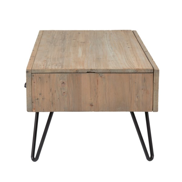 Parson Coffee Table With 2 Drawers Reclaimed Solid Pine Wood Metal Legs And Metal Accents