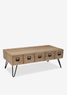Parson coffee table with 2 drawers (K/D)Reclaimed solid pine wood/ metal legs and metal accents pul