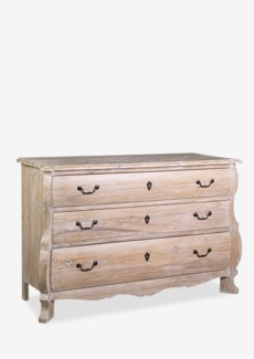 Rhone chest of 3 drawers made of solid woodSolid mindi wood/decoative accents pullsBase: white was